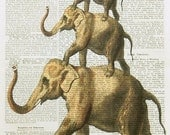 LEGEND OF ETSY elephant acrobats art animal fauna dictionary art vintage illustration wall decor
