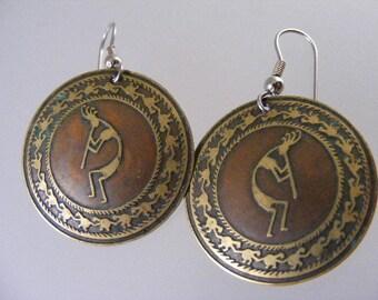 Vintage Southwest Kokopelli Pierced Dangle Earrings.....   Lot 4513