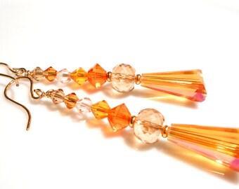 CLEARANCE SALE Orange Earrings, Gold Earrings, Crystal Earrings, Summer Earrings, Modern Earrings, Dangle Earrings