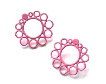simple and fun pink circle post earrings, wire ring stud earrings powdercoat in baby pink, surgical steel backs SALE 50 PERCENT OFF