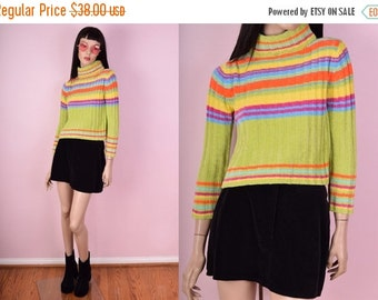 ON SALE 90s Striped Cropped Sweater