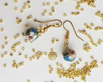 Japanese orchid blue beads earrings
