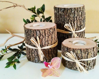 9 Rustic tree branch candles - Rustic Wedding - Wedding centerpieces -  Home decor - Cabin decor - Holiday centerpiece