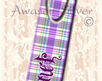 Metal bookmark with high quality printed original images. Purple and pastel plaid personalized with your name. Personalized bookmark.