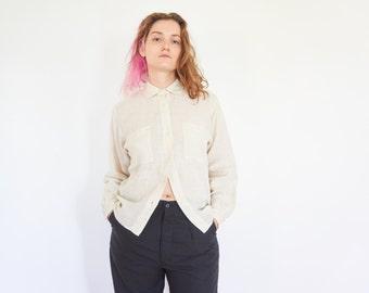 90s Calvin Klein Beige Linen Button Down Shirt