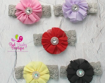 Baby Headbands - You pick 1 Chiffon Newborn Headband - Lace Headband - Baby Girl Headbands - Baby Hair Accessories - Baby Hair Bow - Bows