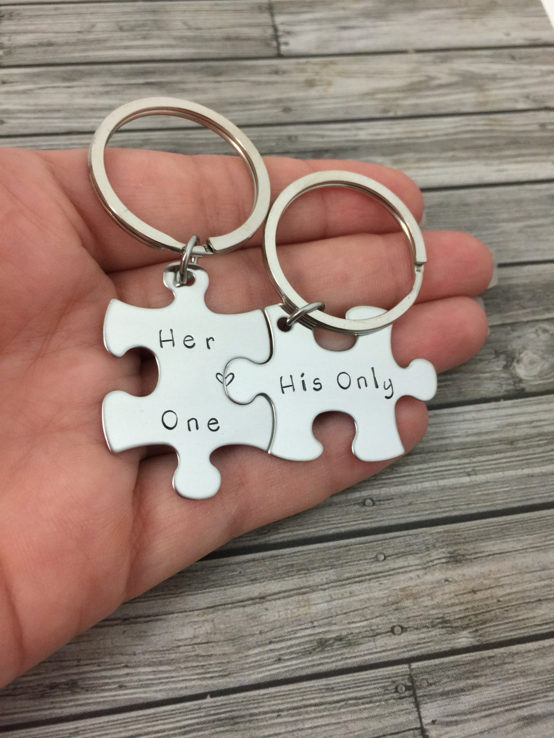 Her One His Only Couples Keychains Puzzle Piece Keychain