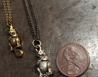 Tiny White Bronze or Brass BeaveR pendant necklace.....I love beaver