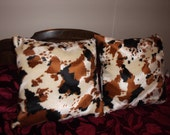 Faux Fur Brown, Black and Tan Cow Print Pillows Set of 2, 18 X 18 Great Gift and Nice Cow Decor, Living Room, Den, Bed Room, In other Colors