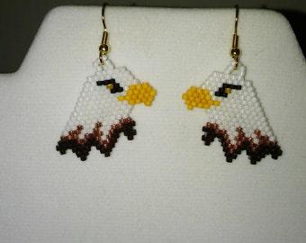 Native American Style Beaded Bald Eagle Wildlife Earrings Southwestern, Hippie, Boho, Brick Stitch, Gypsy, Peyote, Loom, Gift Ready to Ship