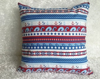 """Nautical Red, White & Blue 16"""" x 16"""" Pillow Cover"""
