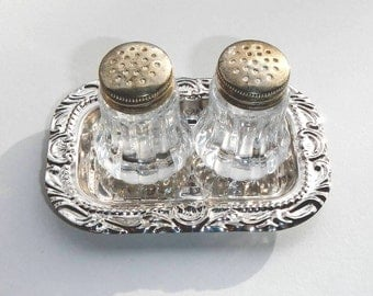 Salt and Pepper Shakers on Ornate Tray Vintage Table Serving Set