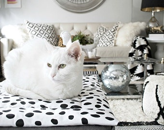 Dalmatian Cat Bed As Seen in Better Homes & Gardens. Refillable catnip mat. Gifts for her. Black and white cat bed. Cat lady cat lover gift