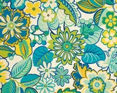 One Custom Twin Size Mattress Cover Indoor/Outdoor  - Floral Lime Kiwi Jade Turquoise Yellow   SPECIAL