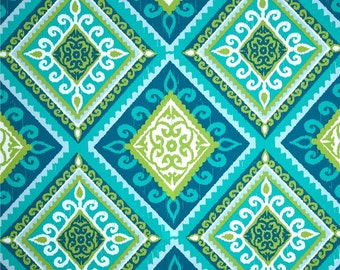 Two  Custom  20 x 20 Designer Decorative Pillow Covers  Indoor/Outdoor - Geometric Tile - Citrine Green/Teal/Blue