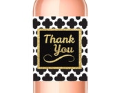 Thank You Wine Label - Black and Gold Sparkle - Thank You Gift - WEATHERPROOF and REMOVABLE - Wine Bottle Labels