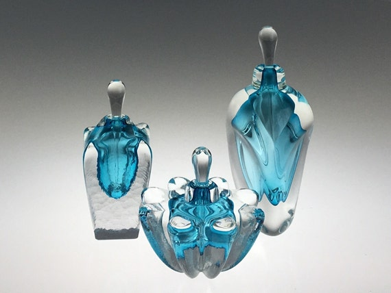 Hand Blown Glass Perfume Bottle - Set of Three - Aquamarine Blue by Jonathan Winfisky
