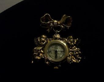 Vintage Avon Goldtone Angel Watch Pin