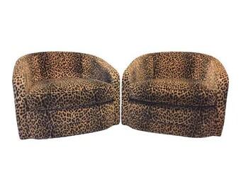 Leopard Barrel Swivel Chairs, Pair