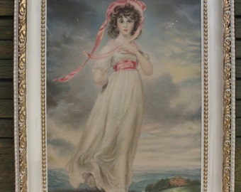 Pinkie Portrait - Vintage pressed plastic frame - Thomas Lawrence