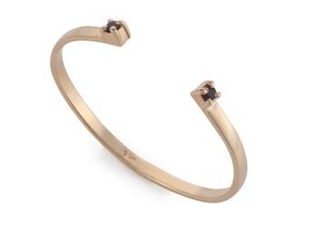 Gold Open Bangle Embedded Gemstone - Adjustable Moltistone Bracelet - Gold Plated Statement Bracelet - Gemstone Bracelet - Everyday Bracelet