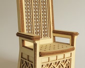 Throne 1:12 scale, 'King-size' (ready-assembled and un painted)