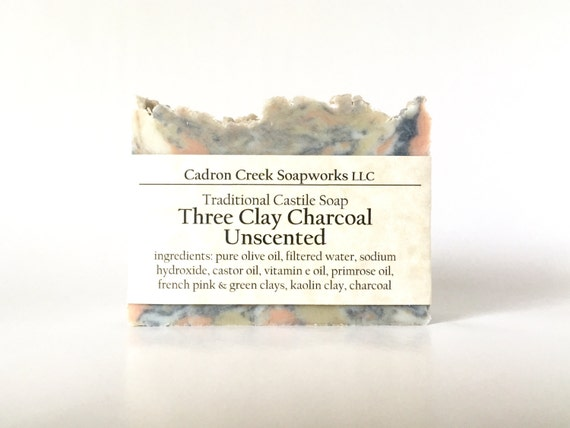 Unscented Soap, Three Clay Charcoal Castile Soap, Handmade Olive Oil Facial Soap, Natural Skin Care, Cadron Creek Soapworks