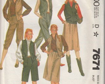 1981 sewing pattern McCall's 7671 Misses vest, skirt, knickers, pants, shorts, belt size 12 bust 34