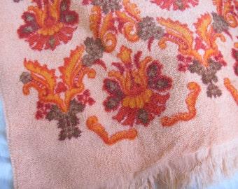 Sears Orange patterned towel / Vintage cotton bath towel