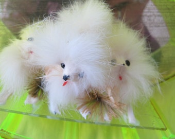 Mid century real fur dogs in display case / White fur dogs in atomic showcase / miniature fur dogs