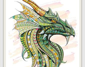 Green Dragon Print, Wall Art, Instant Digital Print, 8x10 Digital Print, INSTANT DOWNLOAD