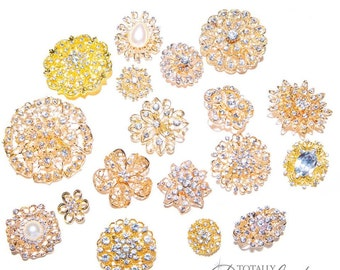 50pcs Gold Brooch Bouquet Supplies Mixed Pack, Wedding Broach Bouquet Brooches with Clear Stones, 711-S