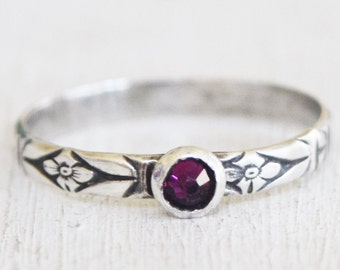 Amethyst Swarovski Crystal Stacking Ring - Size 8.5 - Sterling Silver Stack Ring - Birthstone Ring - Boho Ring - Bohemian - Metalwork