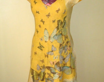 "Nuno felted asymmetric Dress , size L, ""Butterfly""  yellow"