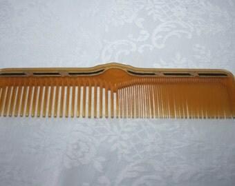 Vintage Celluloid Hair Comb Amber Black Gold Details