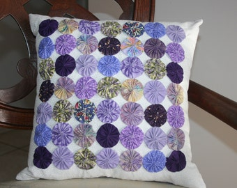 Shabby Chic Cottage Inspired 49 Yo-Yo's or Rosette Decorative Accent Pillow Handmade Original Design Shades of Purple Colors