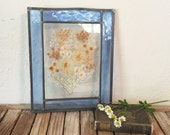 Vintage Stained Glass Panel With Pressed Flowers
