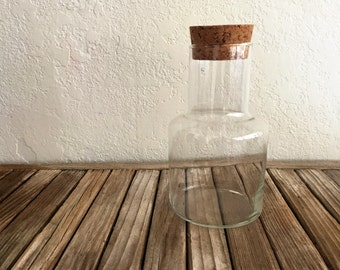 Vintage Glass Canister with Cork Tops