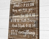 Personalized Important Dates Wood Sign, First We Had Each Other Now We Have Everything Wood Sign, Children's Birth Dates Sign