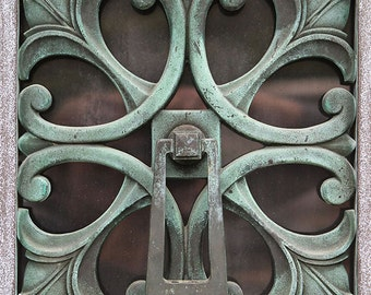 Iron Door Knocker Photography- Patina Gate Detail Photo Art Deco Ironwork Gate Detail Savannah GA, Patina Green Ornate Detail Print