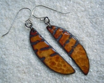 Golden Brown Enamel Earrings