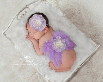 SALE 25% OFF - Lilac Angel Feather Baby Wings with Skinny Elastic Headband, for newborns, photo shoots, photographers, baby photo, baby girl