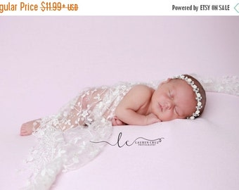 SALE 25% OFF - Newborn Baby Wrap in White Floral Lace with Fringe AND/Or Silver Rhinestone Leaf and White Rose Headband, by Lil Miss Sweet P