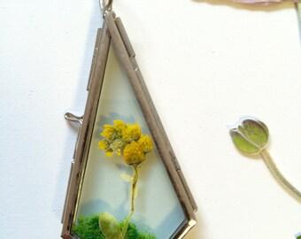 Miniature terrarium pendant necklace - pressed flowers