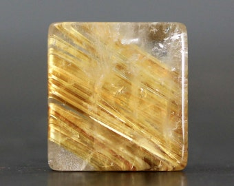 Gold Rutile Quartz Gemstone Cabochon Rutilated Golden Inclusion Wire Wrap Bezel Set Embroidery Craft Supplies Natural Stone (CA4937)