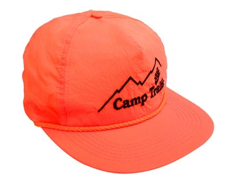 Glowing 80s Neon Orange Camp Trails Snapback Cap