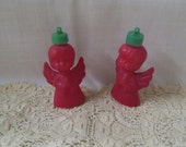 Vintage Angel Candy Containers Ornaments Red Green Plastic