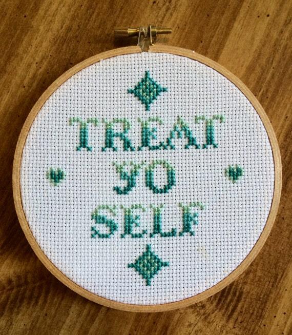 Treat Yo Self Finished Cross Stitch Hoop Art