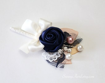 Navy Blue Ivory Blush Rosette Boutonniere/ Country Wedding Lapel Pin/ Handmade Wedding Accessory