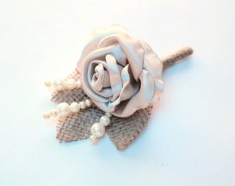 Champagne Rose Burlap Boutonniere/ Rose Lapel Pin/ Handmade Rustic Wedding Accessory